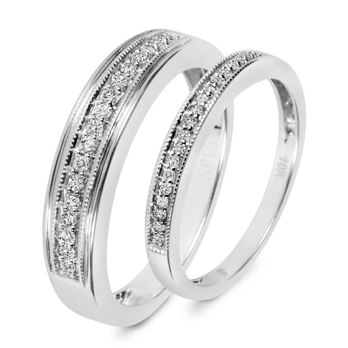 1/4 Ct. T.w. Diamond His And Hers Wedding Band Set 10K White Gold Pertaining To His And Her Wedding Bands Sets (Gallery 12 of 15)