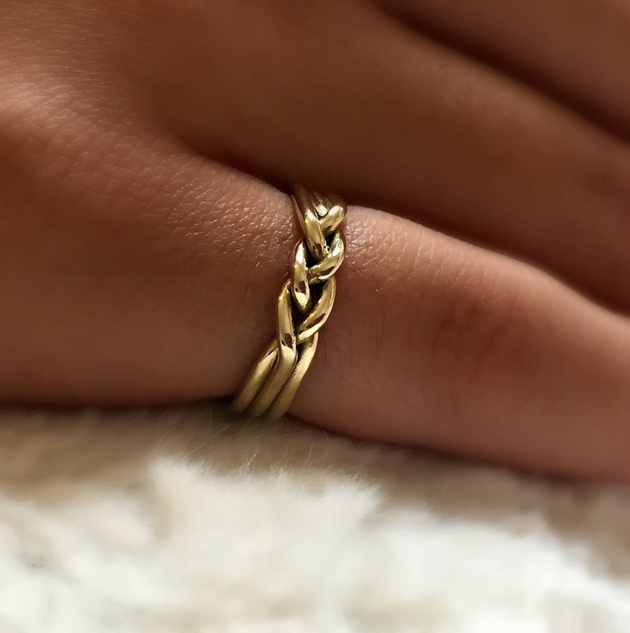 14 Karat Gold Ring Gold Wedding Ring Braided Wedding Ring Intended For 14 Carat Gold Wedding Bands (View 13 of 15)