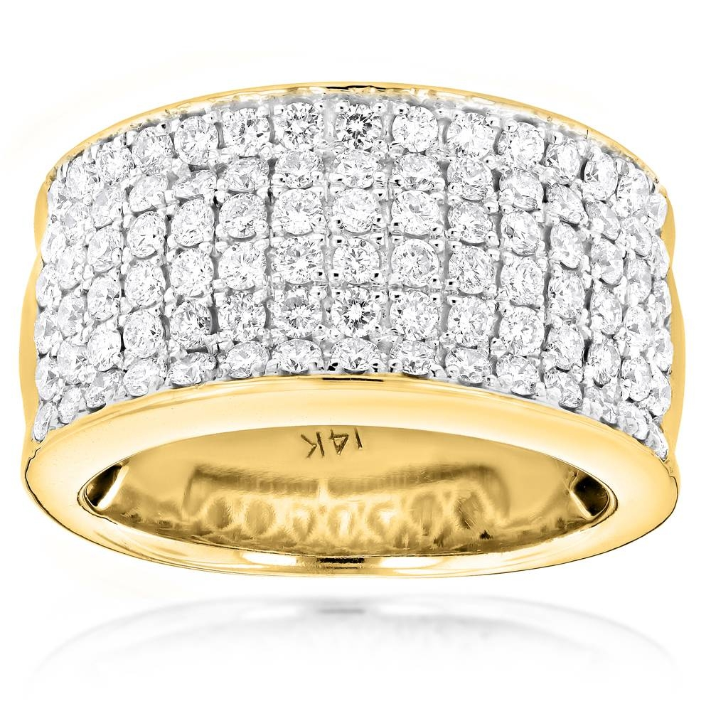14K Gold Mens Designer Diamond Wedding Band 2.05Ct In Mens Gold Diamond Wedding Bands (Gallery 3 of 15)