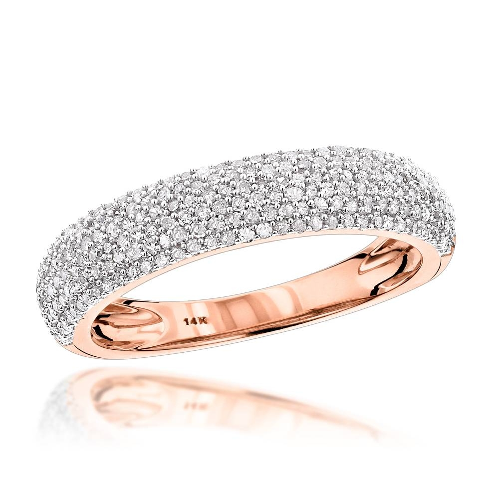 14K Gold Micro Pave Diamond Wedding Band For Women  (View 1 of 15)