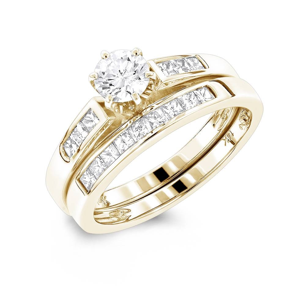 14K Gold Princess Cut And Round Diamond Engagement Ring Set  (View 1 of 15)