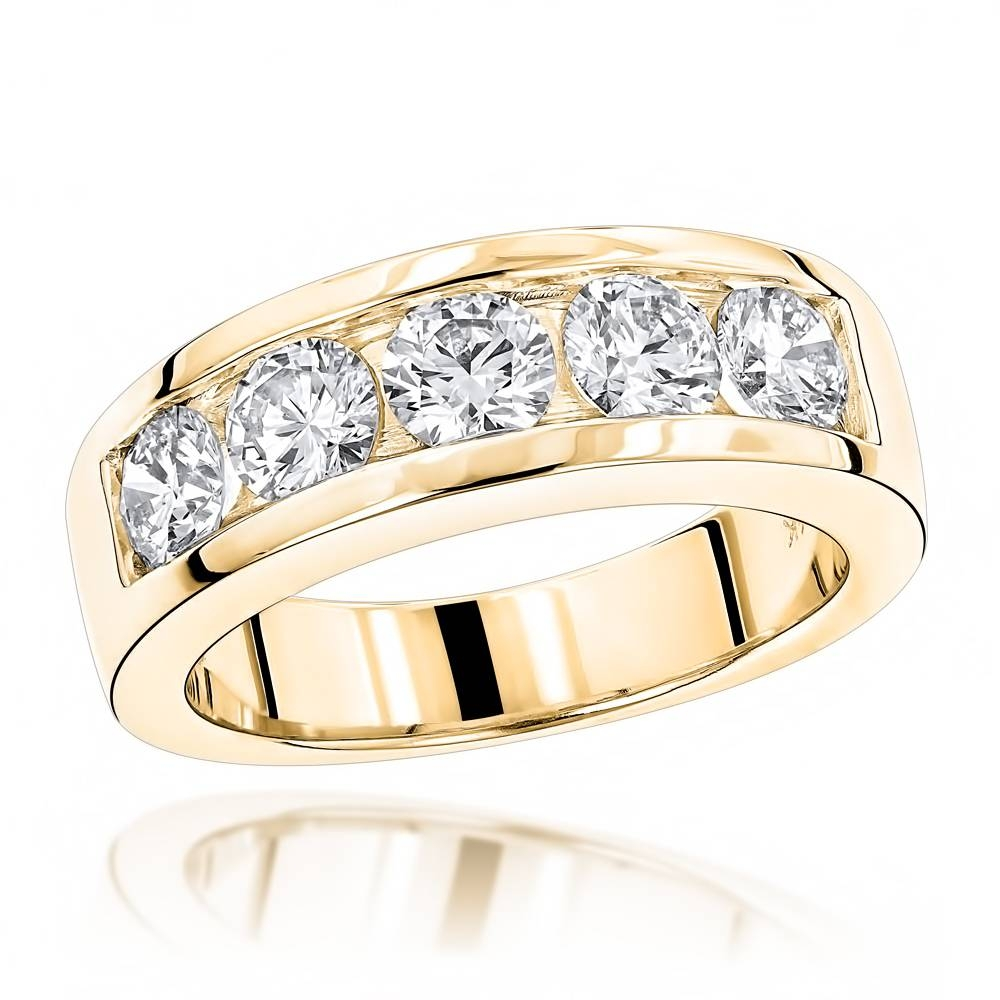 14K Gold Round Diamond Mens Wedding Band 2Ct 5 Stone In Diamond Mens Wedding Bands (View 4 of 15)