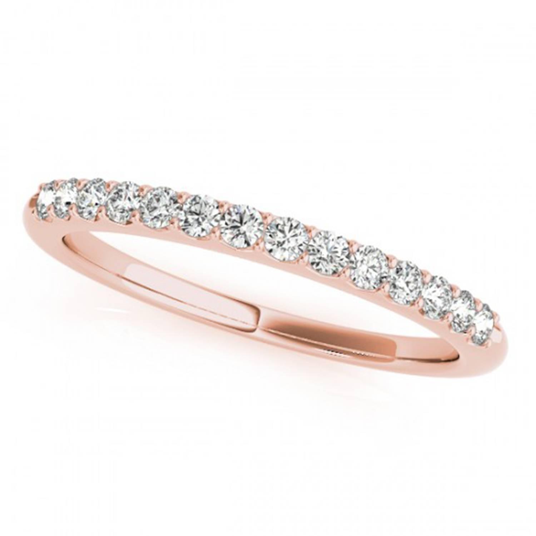 14K Rose Gold Petite Matching Diamond Wedding Band With Regard To Rose Gold Diamond Wedding Bands (View 1 of 15)