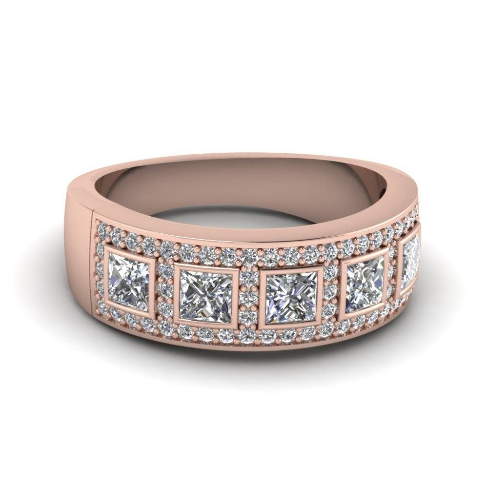 14K Rose Gold Princess Cut White Diamond Wedding Band Inside Rose Gold Womens Wedding Bands (View 2 of 15)