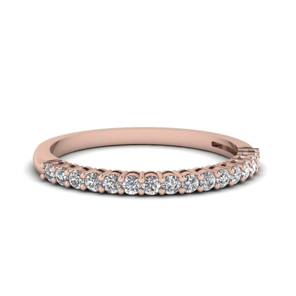 14K Rose Gold Prong Wedding Band | Fascinating Diamonds With Rose Gold Womens Wedding Bands (View 3 of 15)