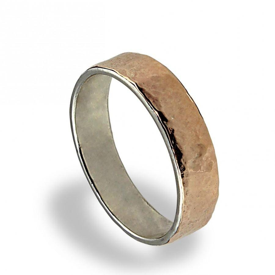 14k Rose Gold Wedding Band, Hammered Texture, Wedding Ring, For Pertaining To Silver Wedding Bands For Him (View 8 of 15)