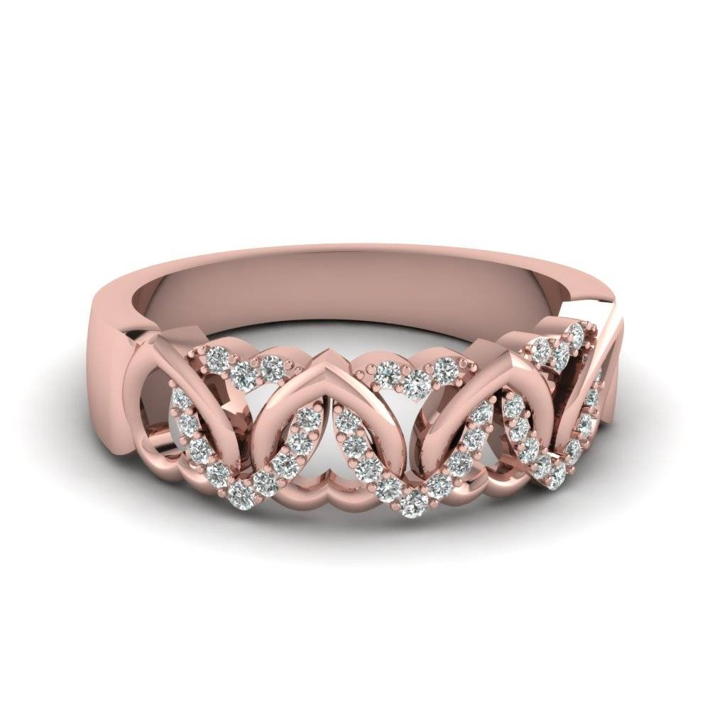 14K Rose Gold White Diamond Wedding Band | Fascinating Diamonds Throughout Rose Gold Womens Wedding Bands (View 4 of 15)