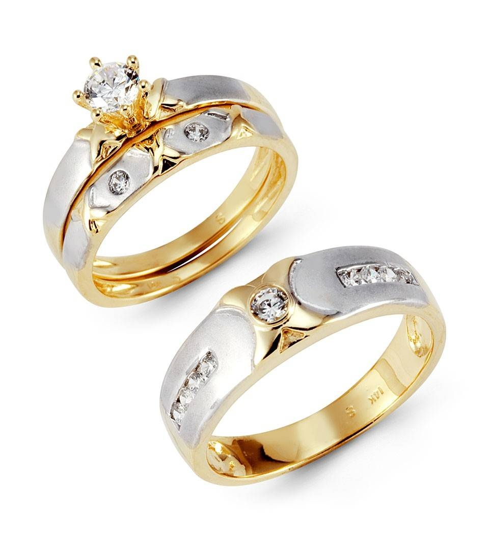 14K Solid White Yellow Gold Xo Cz Wedding Rings Trio – Trio Sets With White And Yellow Gold Wedding Bands (Gallery 2 of 15)