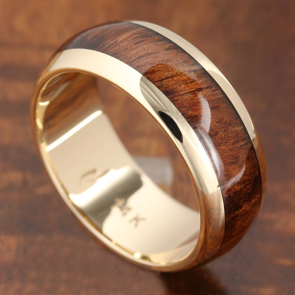 14k Solid Yellow Gold With Koa Wood Inlay Wedding Ring 7mm Throughout Wood Inlay Wedding Rings (View 13 of 15)