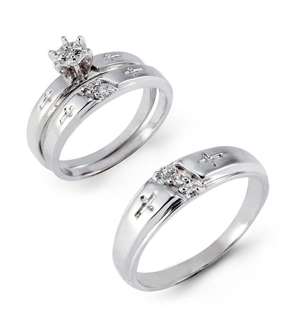 14K White Gold Cz Stone Engraved Cross Wedding Trio Set In Cross Wedding Bands (View 1 of 15)