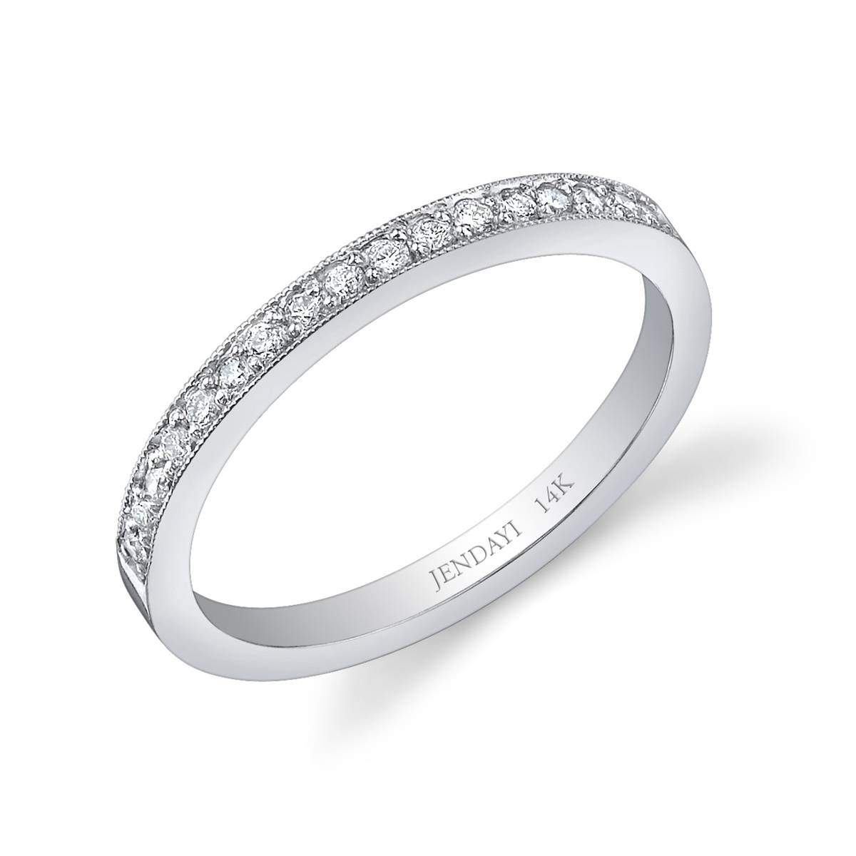 14K White Gold Diamond Wedding Band Pavã© For Recent Pave White Gold Diamond Wedding Bands (View 1 of 15)