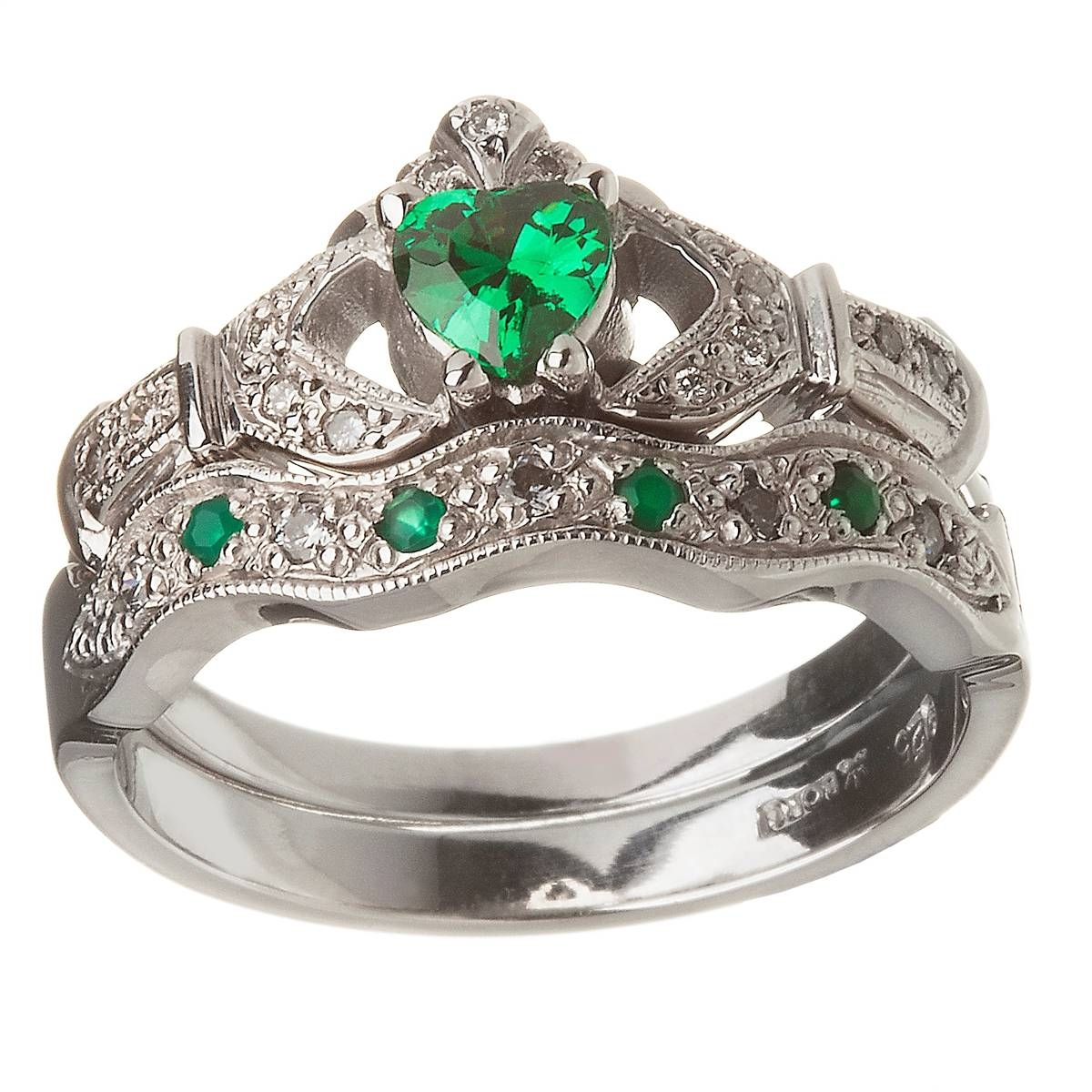 14K White Gold Emerald Set Heart Claddagh Ring & Wedding Ring Set In Mens White Gold Claddagh Wedding Bands (Gallery 8 of 15)