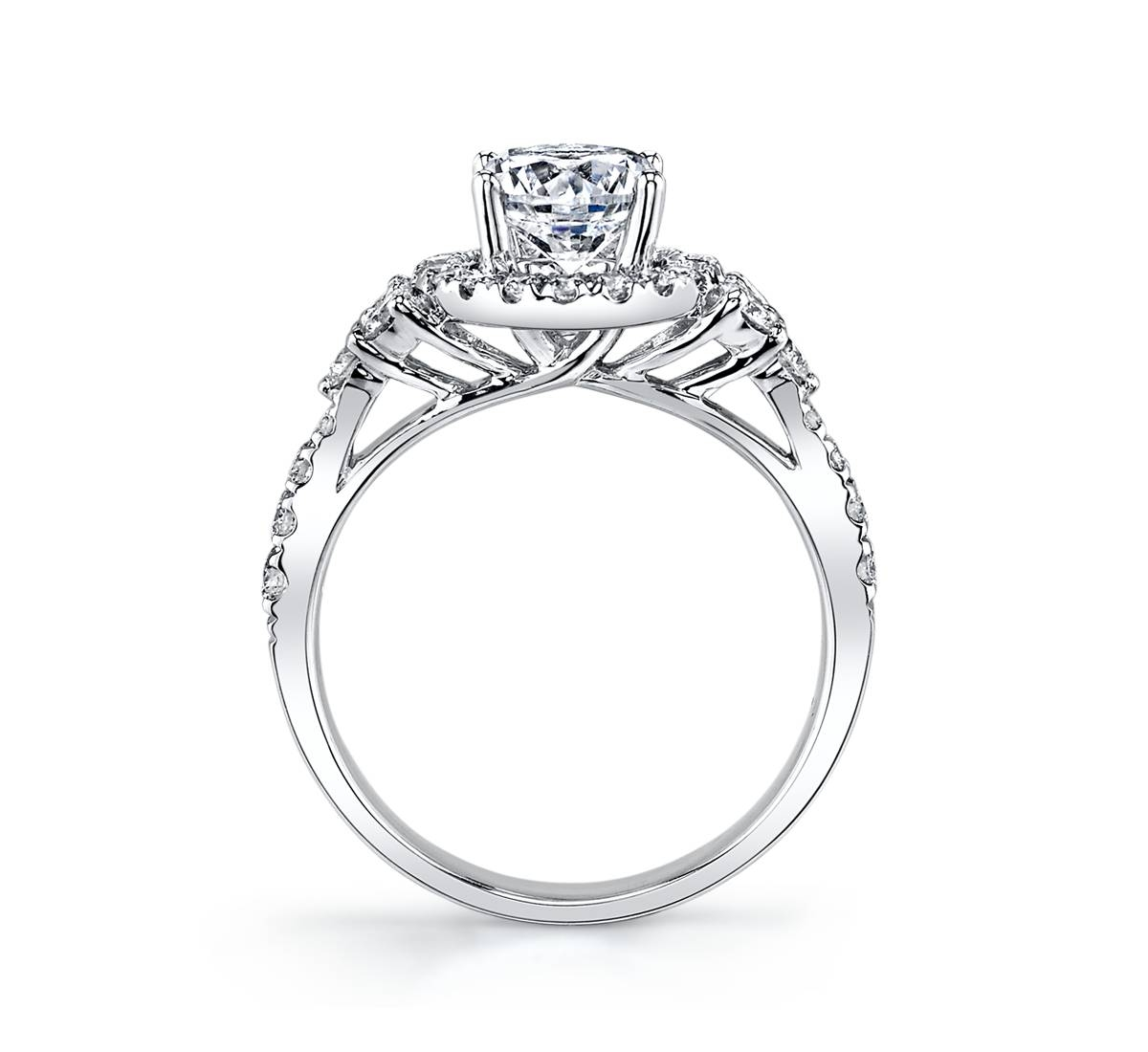 14K White Gold Halo Diamond Engagement Ring Setting 5/8 Cttw Regarding 5 Diamond Engagement Rings (View 1 of 15)