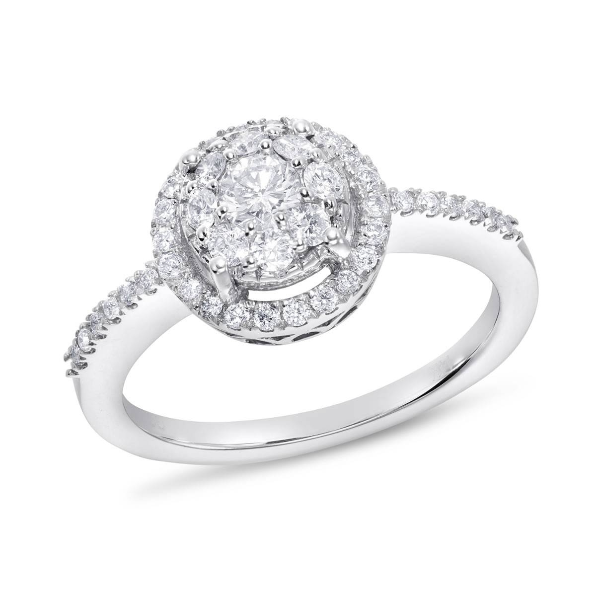 14K White Gold Si Round Diamond Engagement Ring, 5/8 Ctw | Samuels With 5 Diamond Engagement Rings (Gallery 2 of 15)