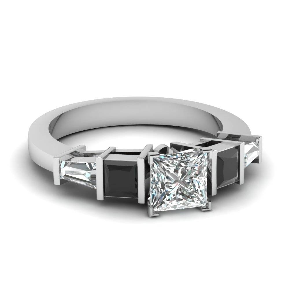 14K White Gold Tapered Baguette Black Diamond Side Stone Throughout Black And White Princess Cut Diamond Engagement Rings (View 6 of 15)