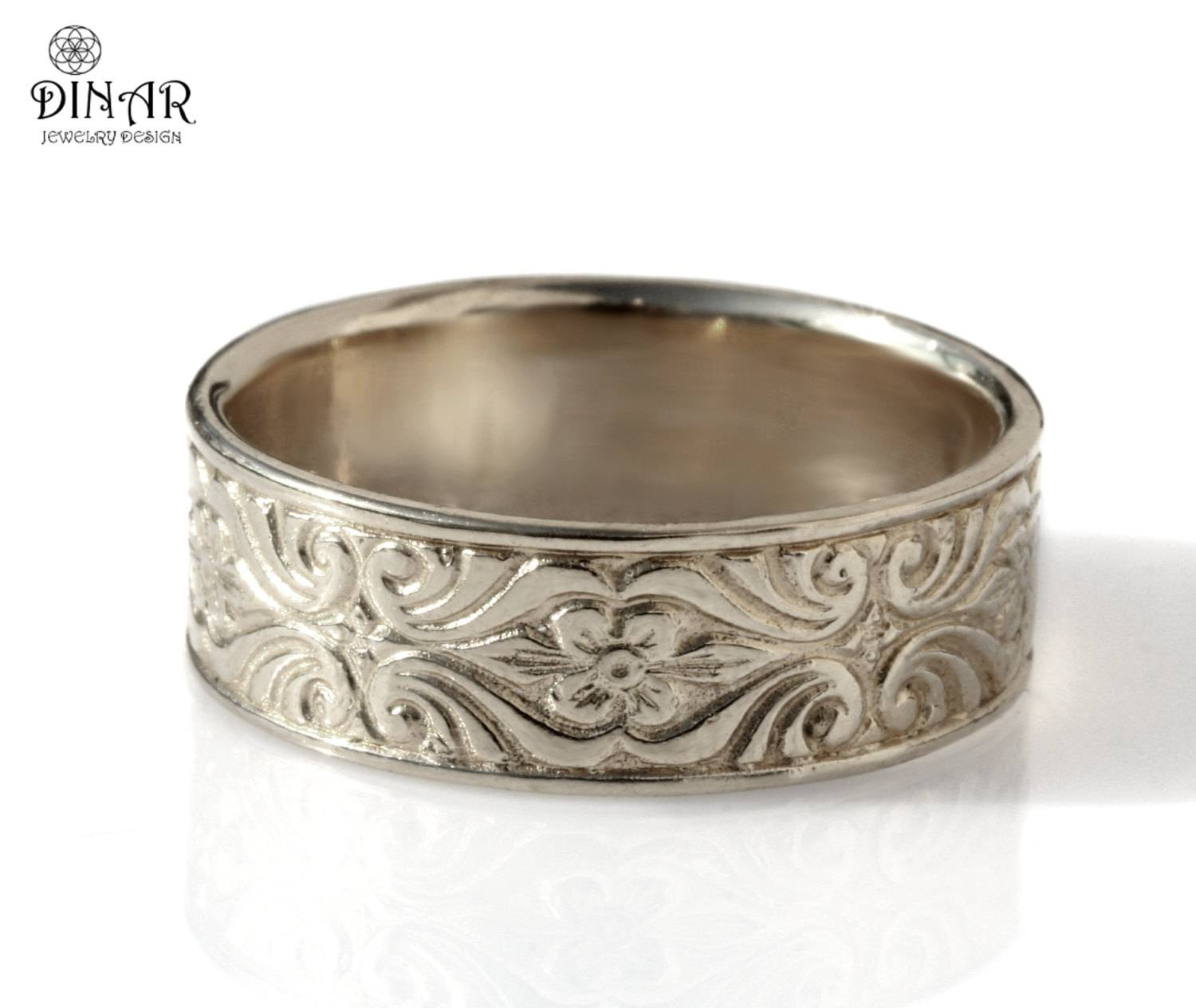 14K White Gold Wedding Band Engraved Scrolls Leaf Men In Most Recent Thick White Gold Wedding Bands (View 2 of 15)