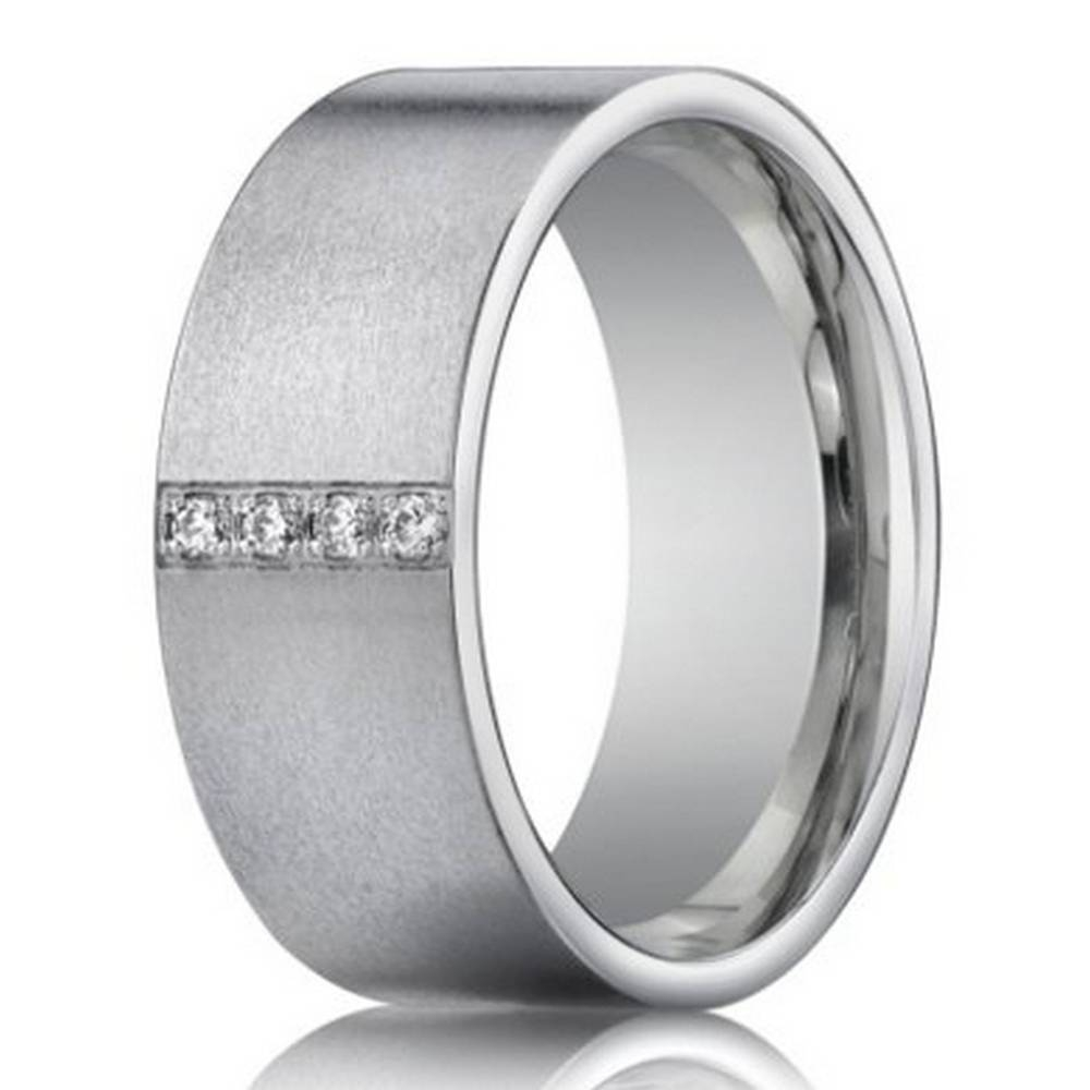 14K White Gold Wedding Ring With 4 Diamonds For Men | 8Mm Width For 8Mm White Gold Wedding Bands (Gallery 6 of 15)
