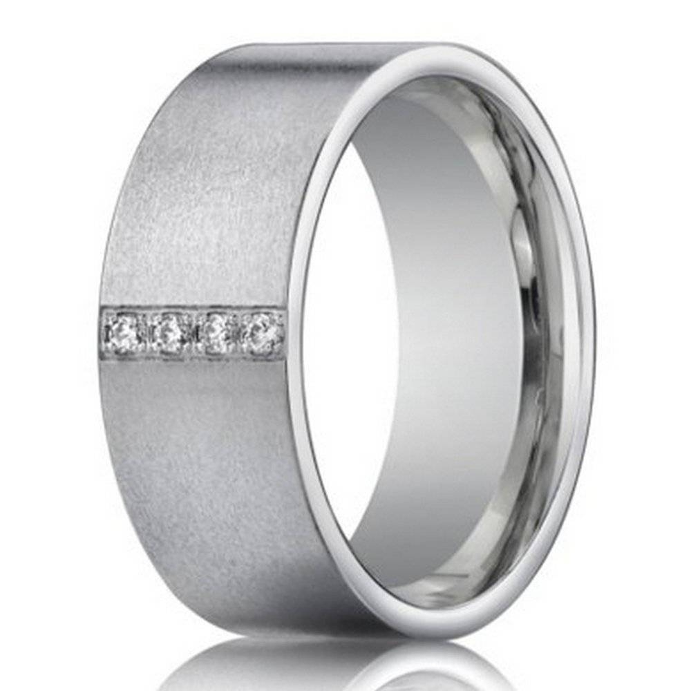 14K White Gold Wedding Ring With 4 Diamonds For Men | 8Mm Width In Mens White Gold Wedding Rings (View 3 of 15)