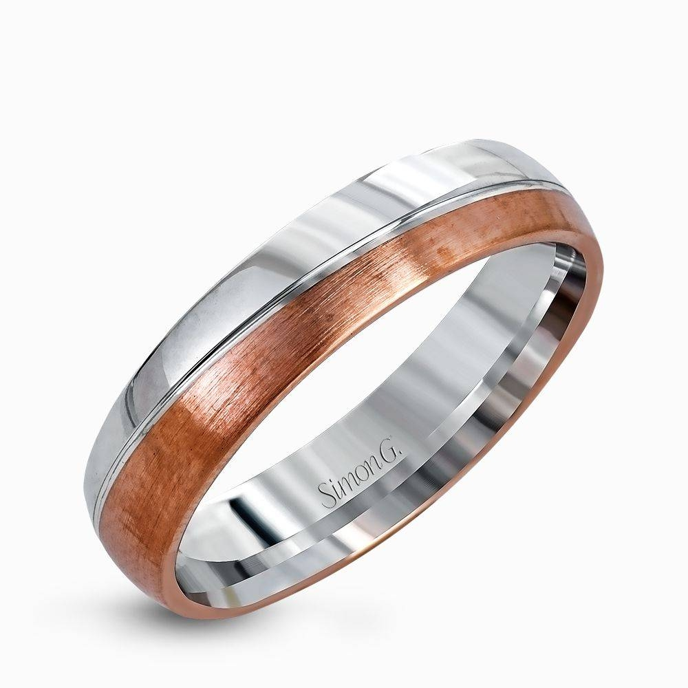 14K White & Rose Gold Sleek Design Men's Wedding Band – Simon G. Regarding Two Tone Men Wedding Bands (Gallery 15 of 15)