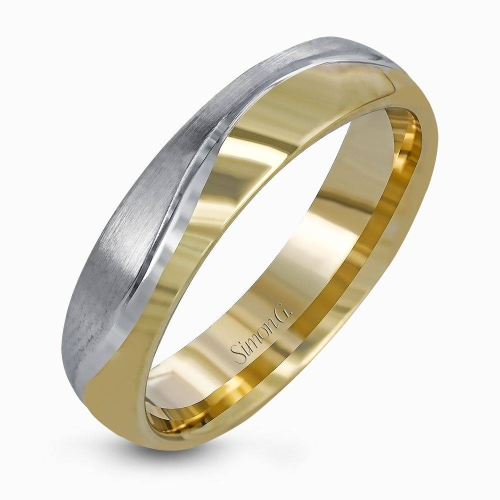 14k White & Yellow Gold Two Tone Men's Wedding Band – Simon G (View 12 of 15)