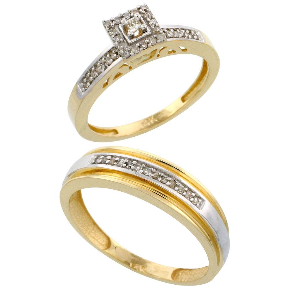 14K Yellow Gold Diamond Jewelry Wedding & Engagement Sets His Within 14 Carat Gold Wedding Bands (View 11 of 15)