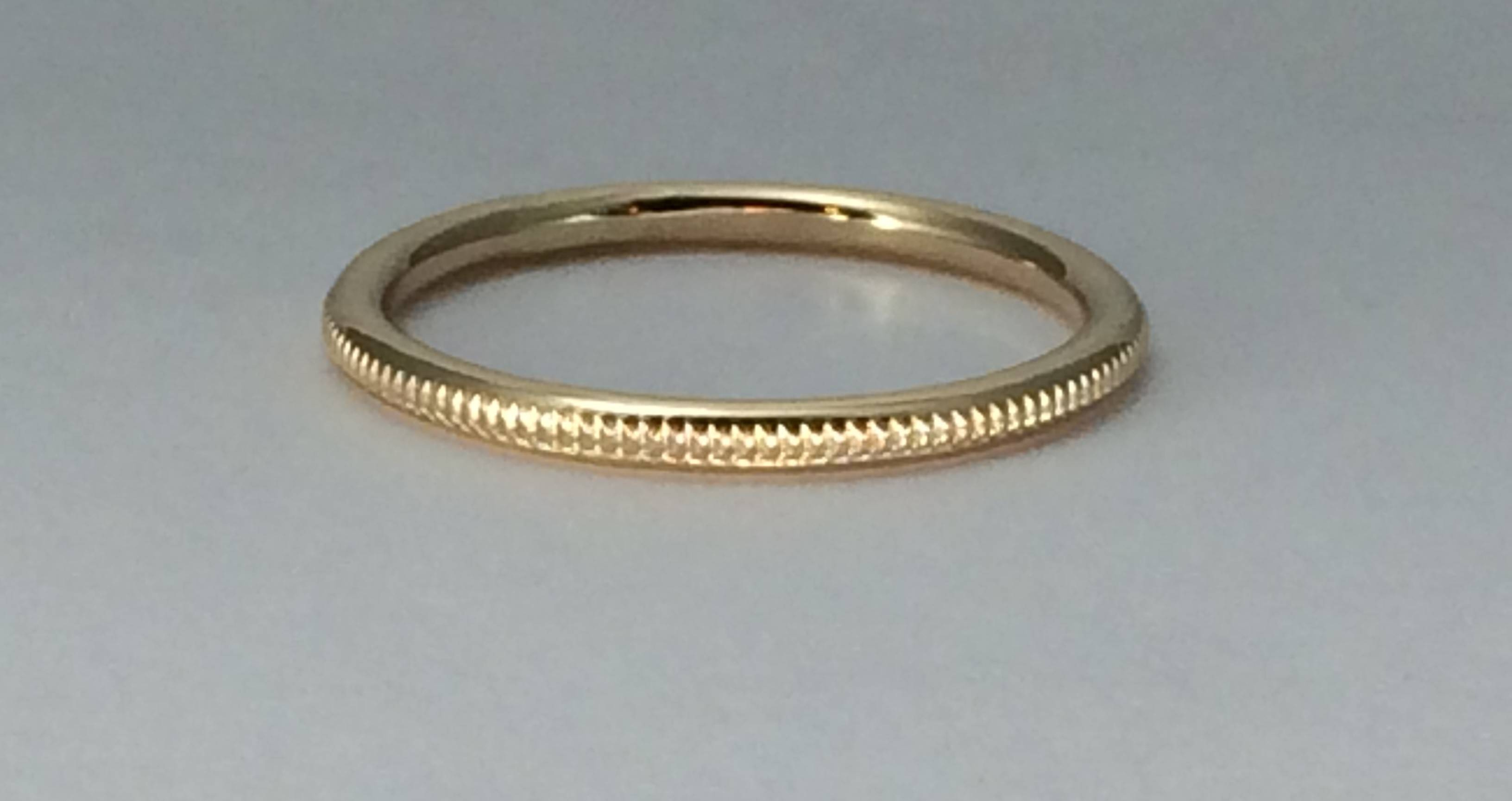 14Kt Gold Milgrain Wedding Band, Raised Milgrain, Rose Gold Intended For Millgrain Wedding Bands (Gallery 1 of 15)