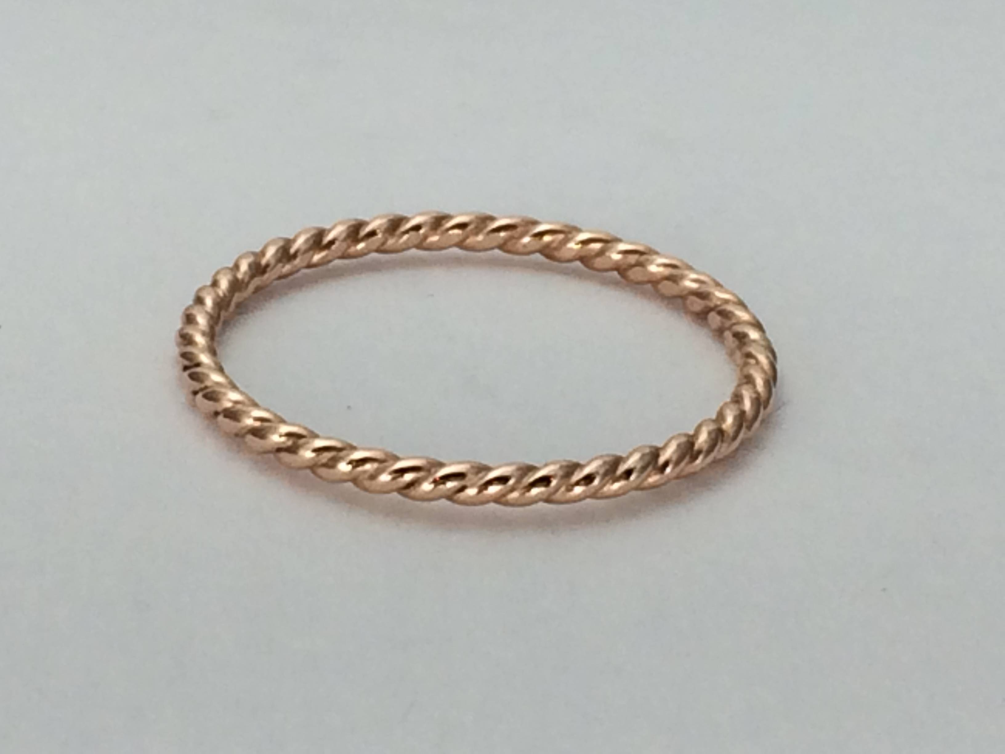 14Kt Rose Gold Wedding Band, Twist Ring,  (View 1 of 15)
