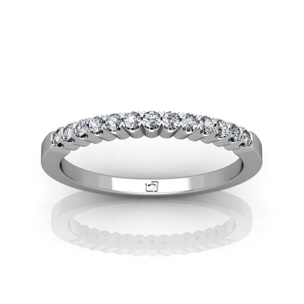 14Kt White Gold Matching Delicate Common Prong Wedding Band With Delicate Diamond Wedding Bands (View 1 of 15)