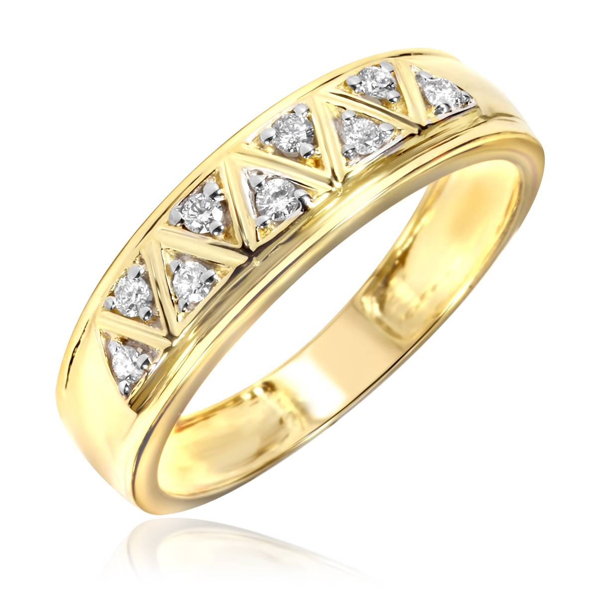1/5 Carat T.w. Diamond Men's Wedding Ring 10K Yellow Gold Intended For Mens Yellow Gold Wedding Bands With Diamonds (Gallery 14 of 15)