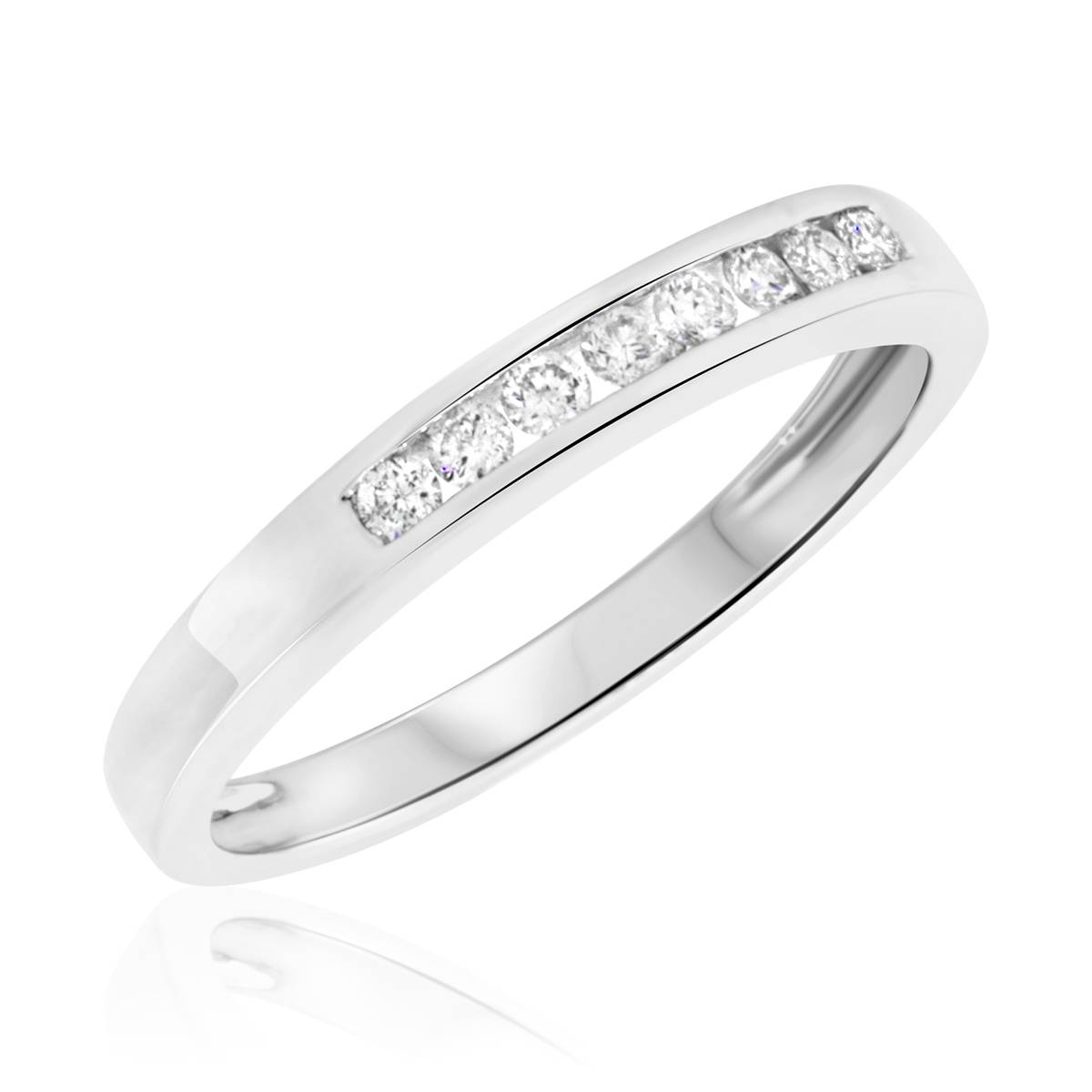1/6 Ct. T.w. Diamond Women's Wedding Band 10k White Gold Inside White Gold And Gold Wedding Bands (Gallery 4 of 15)