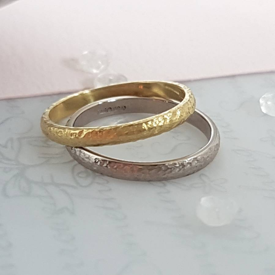 18 Carat Gold Textured Wedding Ringcaroline Brook Inside Latest 18 Carat Gold Wedding Bands (View 5 of 16)