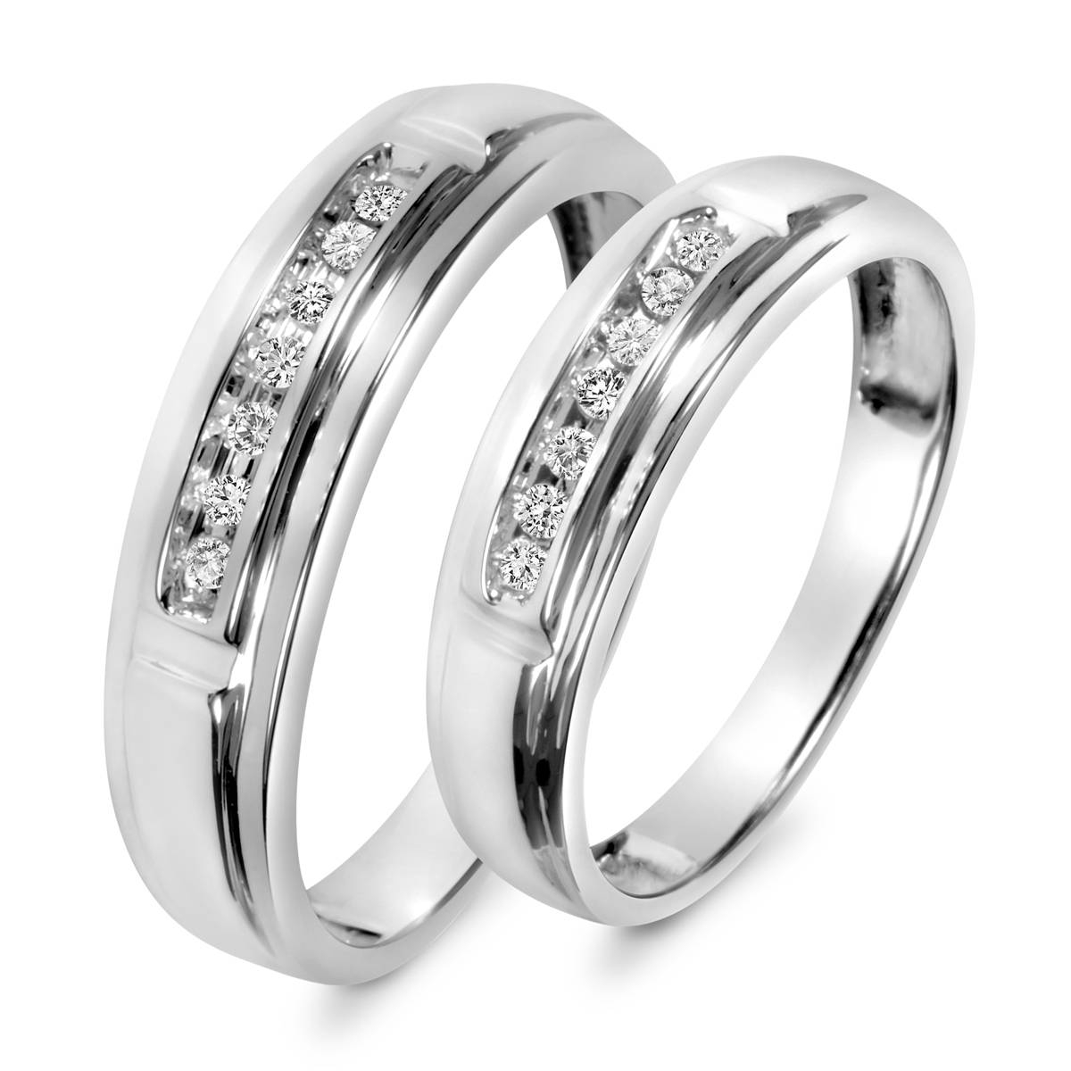 1/8 Carat T.w. Diamond His And Hers Wedding Band Set 14K White Gold In His And Her Wedding Bands Sets (Gallery 3 of 15)
