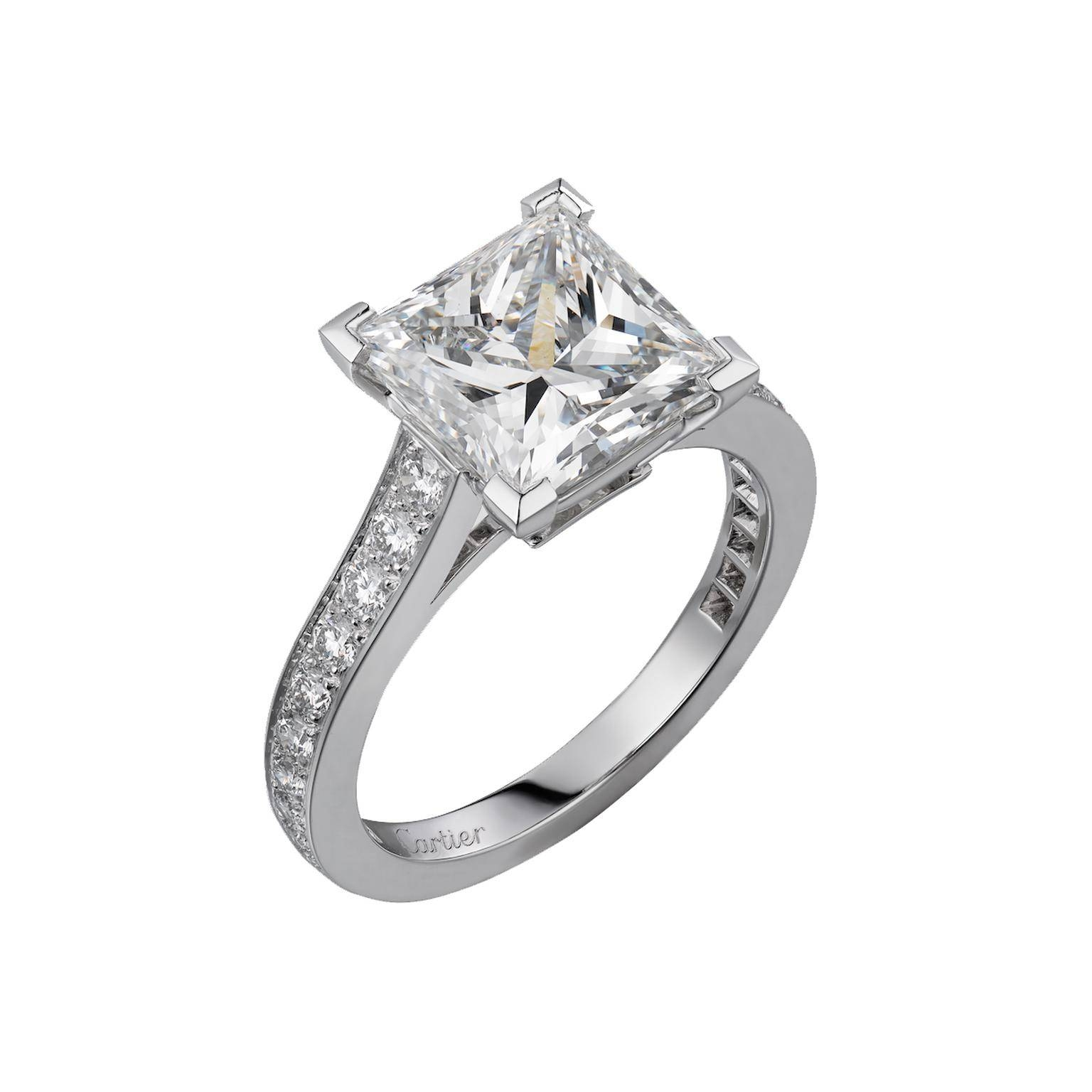 1895 Solitaire Princess Cut Diamond Engagement Ring | Cartier In Princess Shaped Engagement Rings (View 2 of 15)