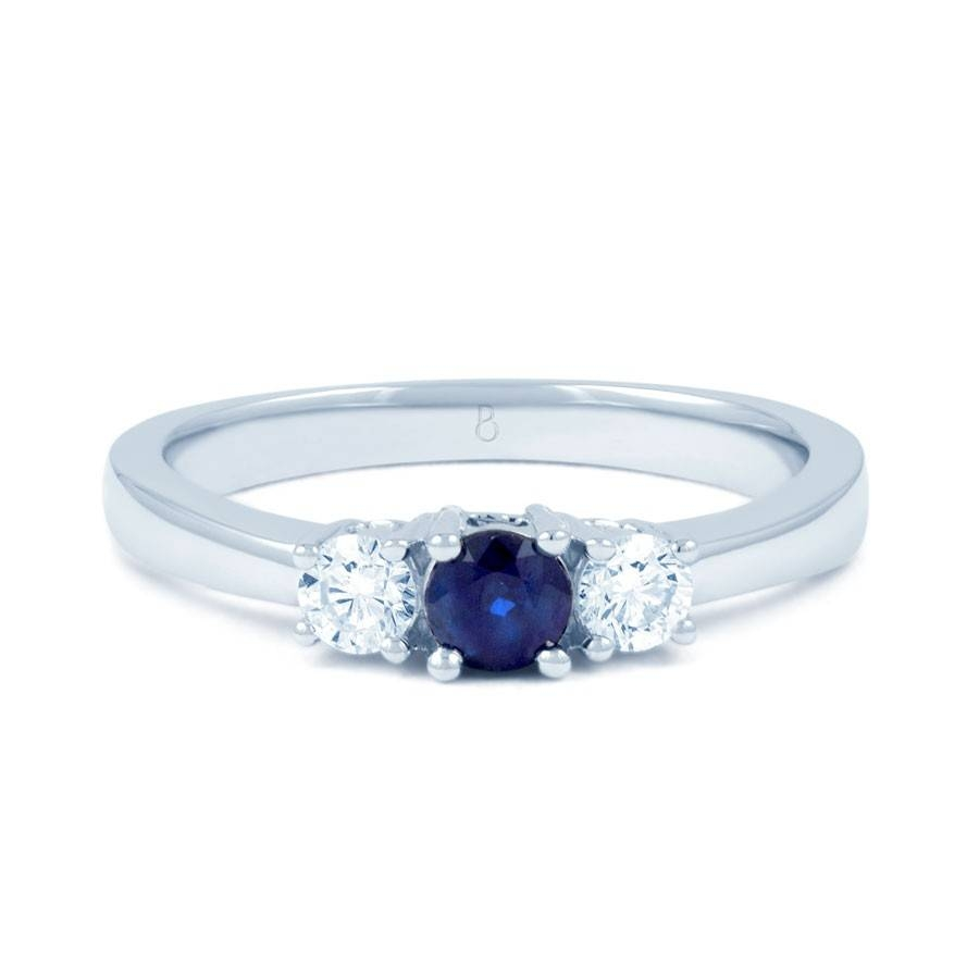 18ct White Gold Blue Sapphire & Diamond 3 Stone Engagement Ring Throughout White Gold Engagement Rings With Blue Sapphire (View 11 of 15)