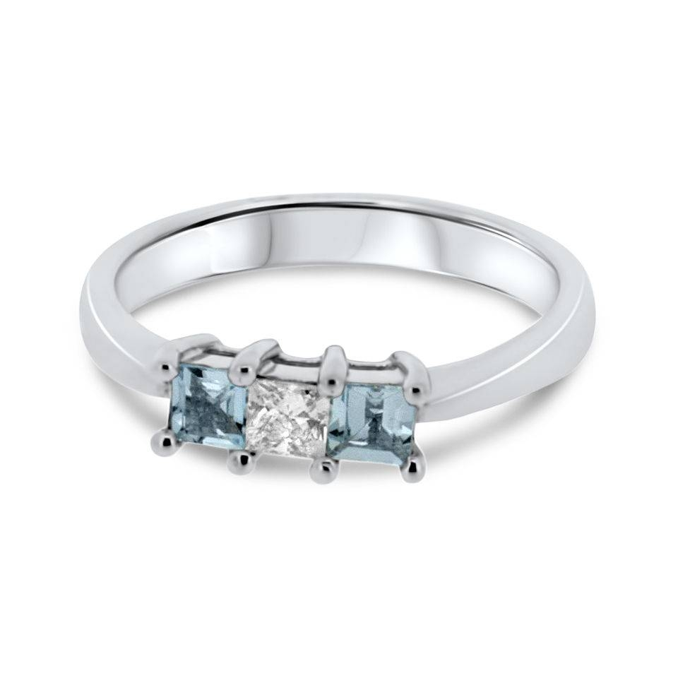 18Ct White Gold Diamond And Aquamarine Vintage Engagement Ring Throughout Diamond Aquamarine Engagement Rings (Gallery 10 of 15)