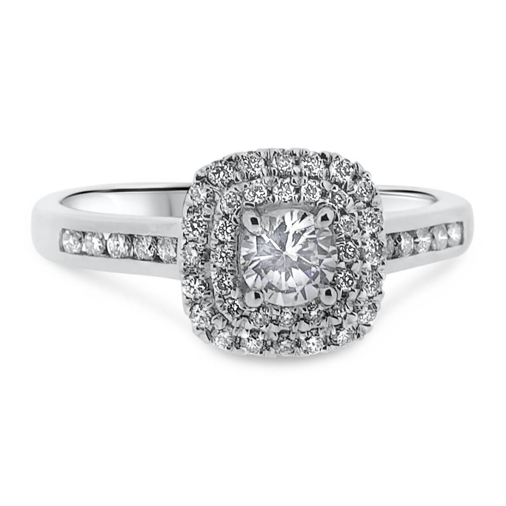 18Ct White Gold Double Halo Round Brilliant Cut Diamond Vintage With Regard To Vintage Halo Engagement Rings (Gallery 11 of 15)