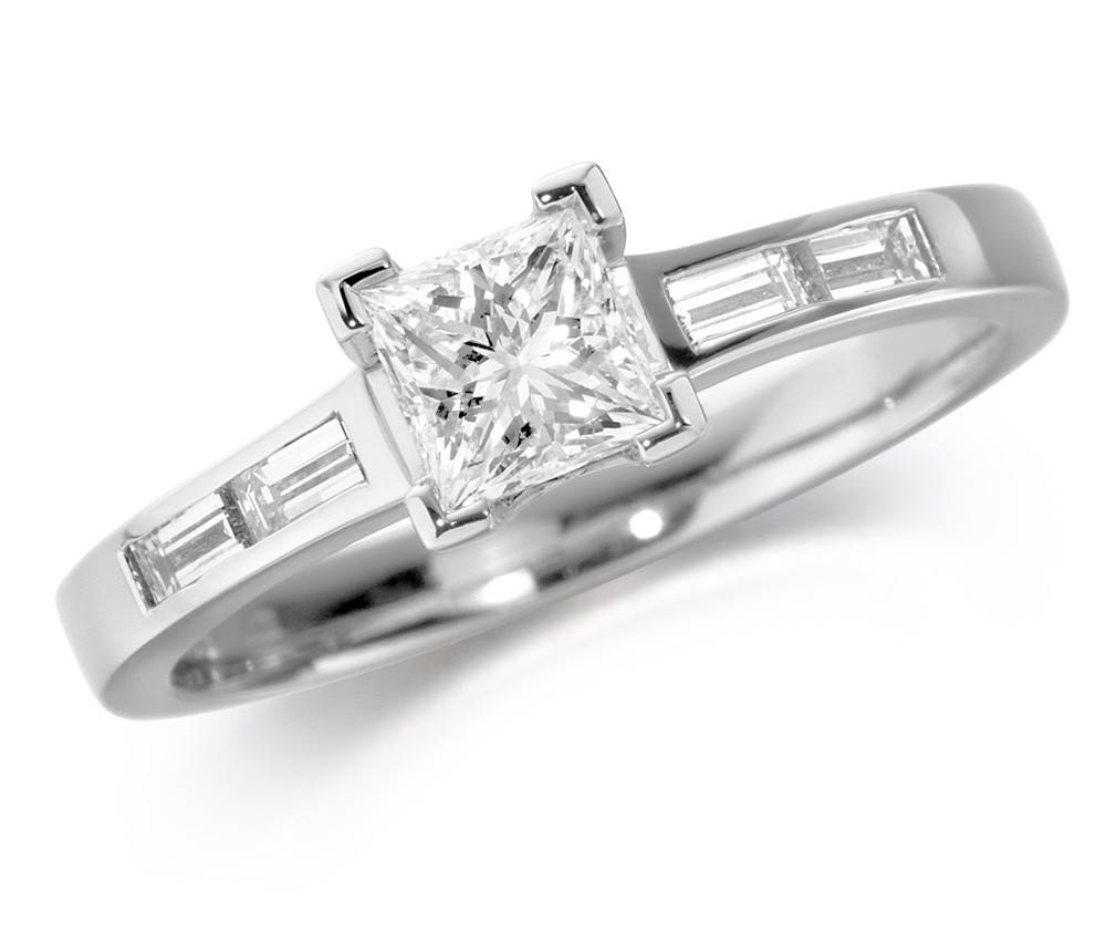 18Ct White Gold Mounted Princess Cut Diamond Ring With Baguette Regarding Baguette Cut Diamond Engagement Rings (View 4 of 15)