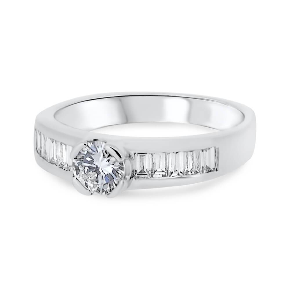 18Ct White Gold Round Brilliant Cut Diamond With Baguette Throughout Baguette Cut Diamond Engagement Rings (View 5 of 15)