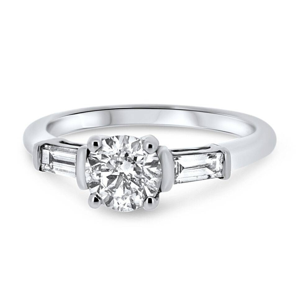 18Ct White Gold Solitaire Diamond With Baguette Cut Shoulders In Baguette Cut Diamond Engagement Rings (View 6 of 15)