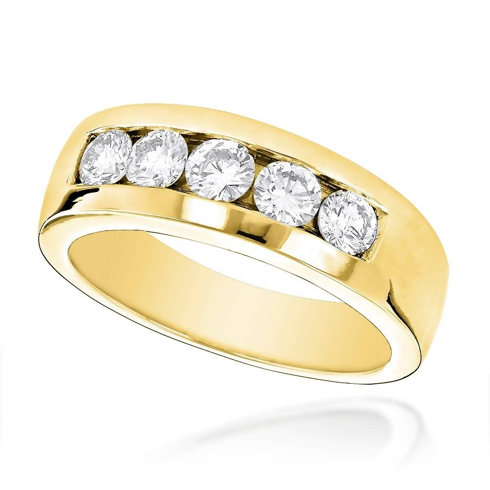 18K Gold Men's Diamond Wedding Ring 1Ct Regarding Most Recent Five Diamond Wedding Bands (View 3 of 15)