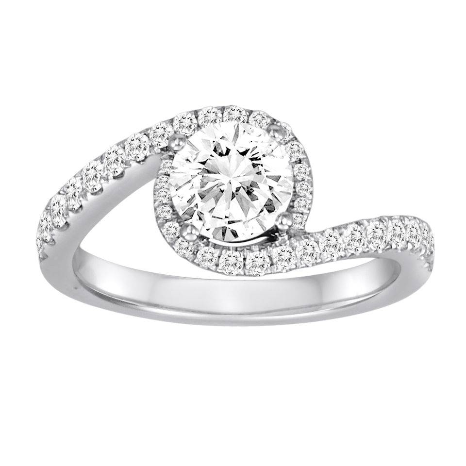 18K White Gold Crossover Diamond Engagement Ring With  (View 1 of 15)