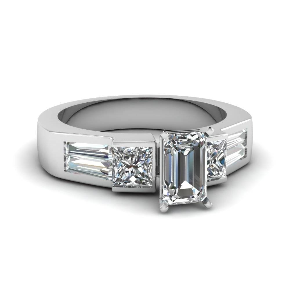 18K White Gold Emerald Cut Princess Cut Bezel White Diamond Side Regarding Princess Cut Diamond Engagement Rings With Side Stones (View 1 of 15)