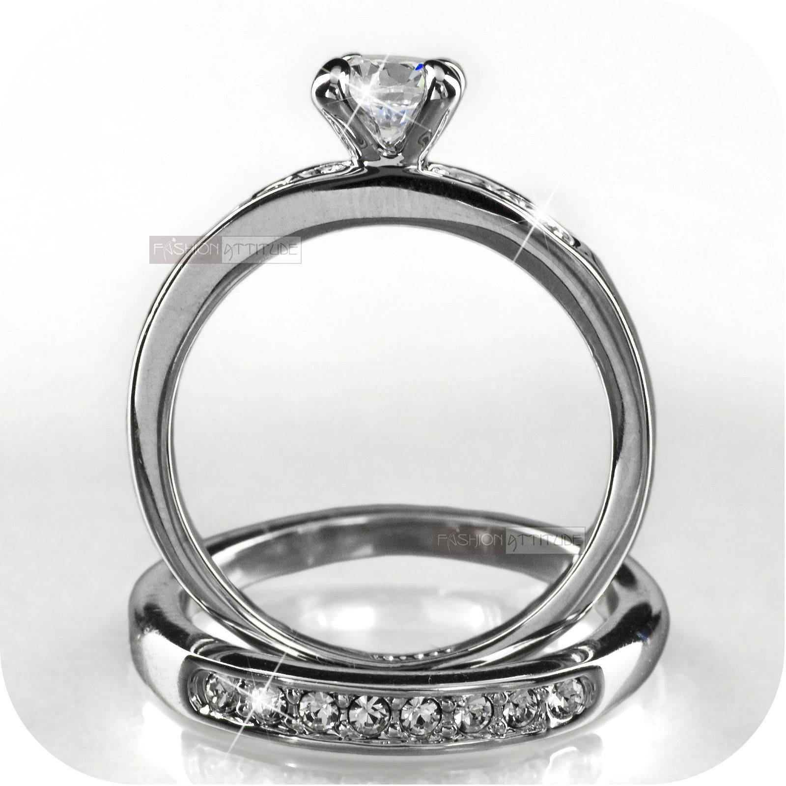 18K White Gold Gp Made With Swarovski Crystal Wedding Ring Set Us For Swarovski Crystal Wedding Rings (View 2 of 15)