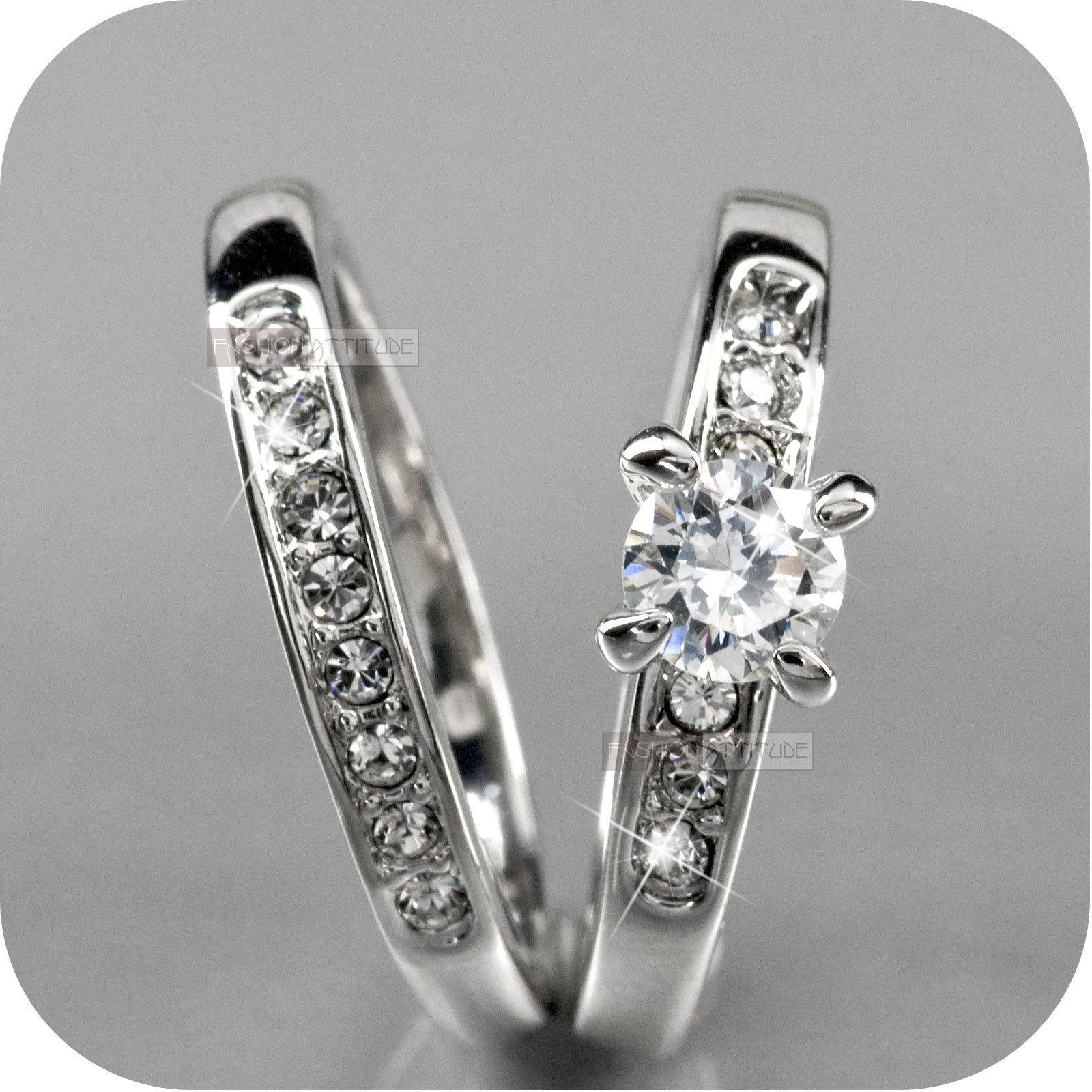 18K White Gold Gp Made With Swarovski Crystal Wedding Ring Set Us Regarding Swarovski Crystal Wedding Rings (Gallery 10 of 15)