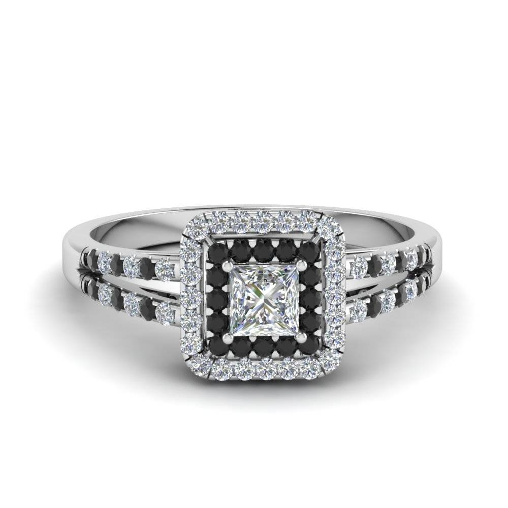 18K White Gold Princess Cut Round Cut Black Diamond Halo For Black And White Princess Cut Diamond Engagement Rings (View 7 of 15)