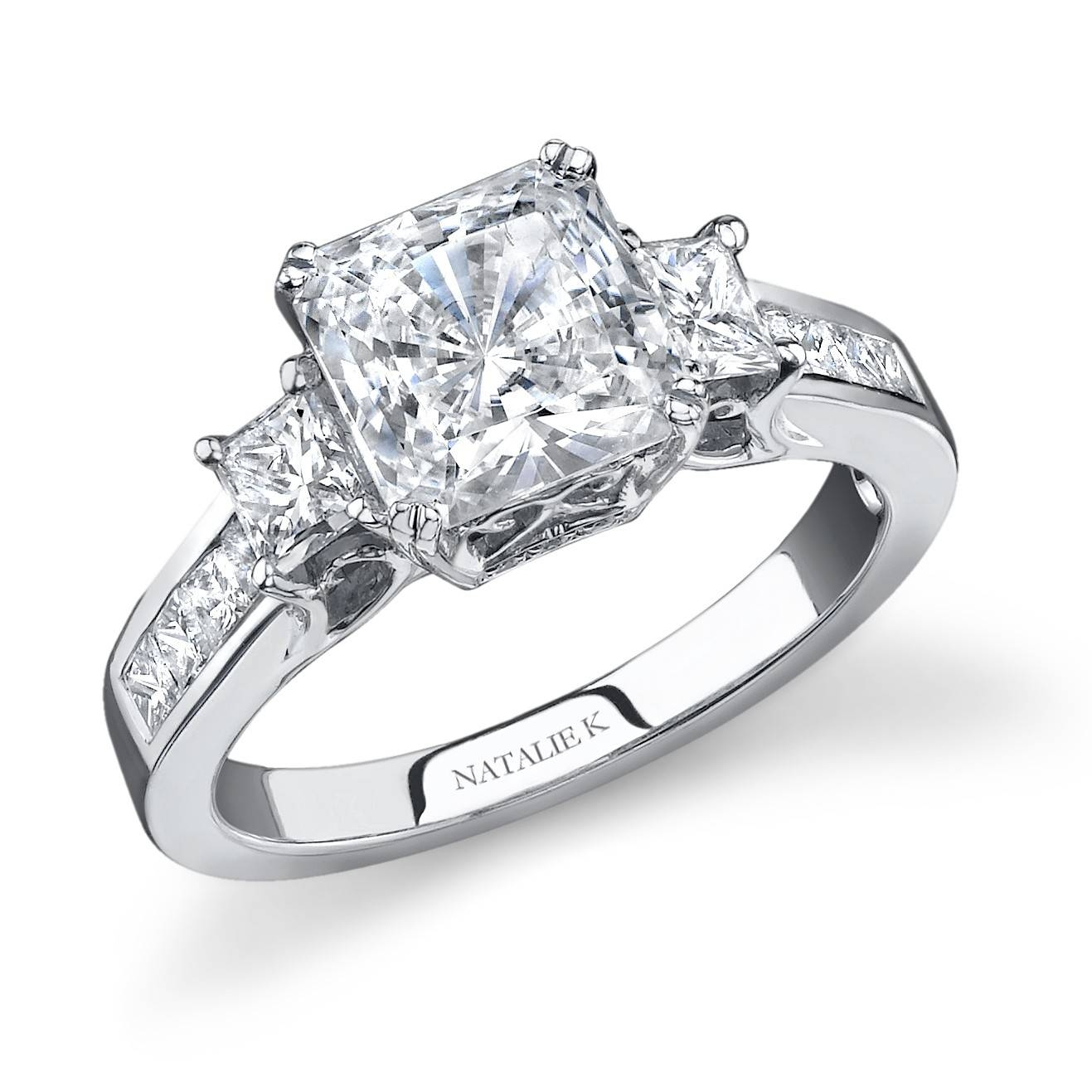 18K White Gold Princess Side Stone Channel Set Dia For Princess Cut Diamond Engagement Rings With Side Stones (Gallery 13 of 15)