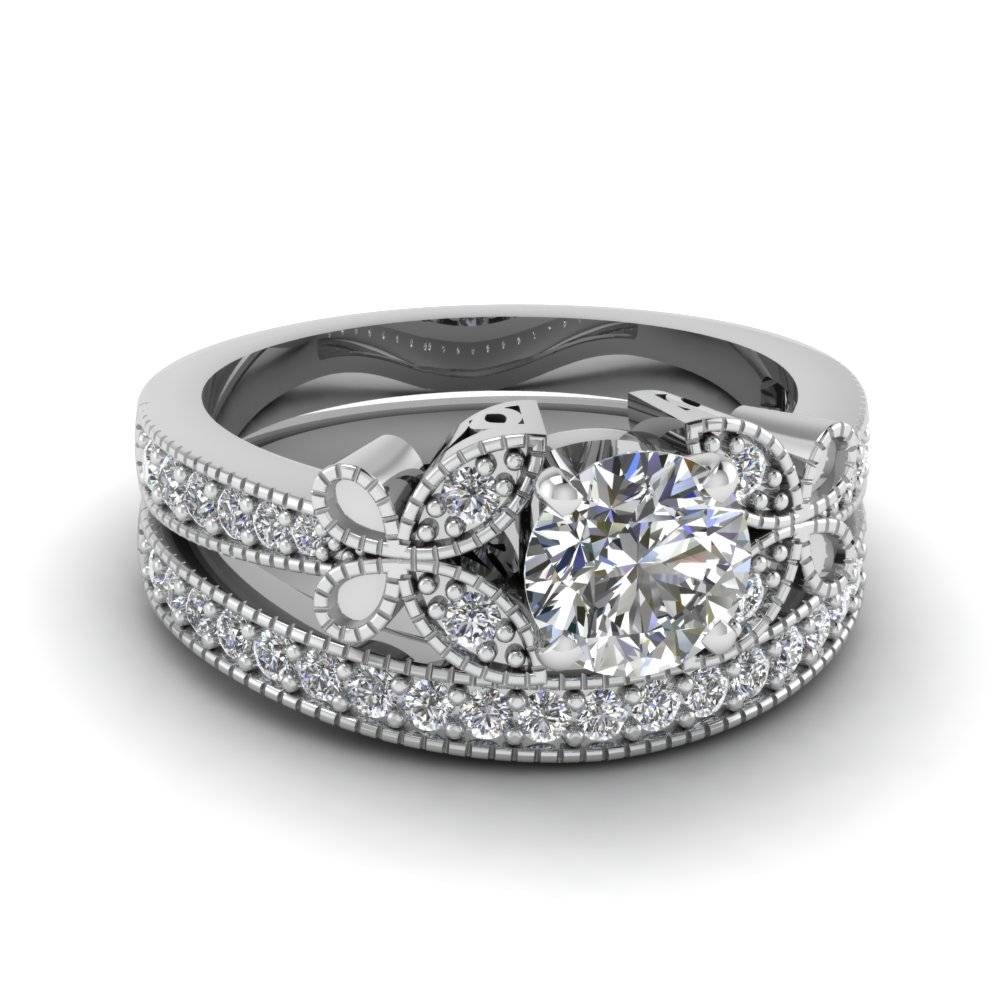 18k White Gold Round Cut Prong White Diamond Wedding Sets Within Butterfly Diamond Engagement Rings (View 12 of 15)