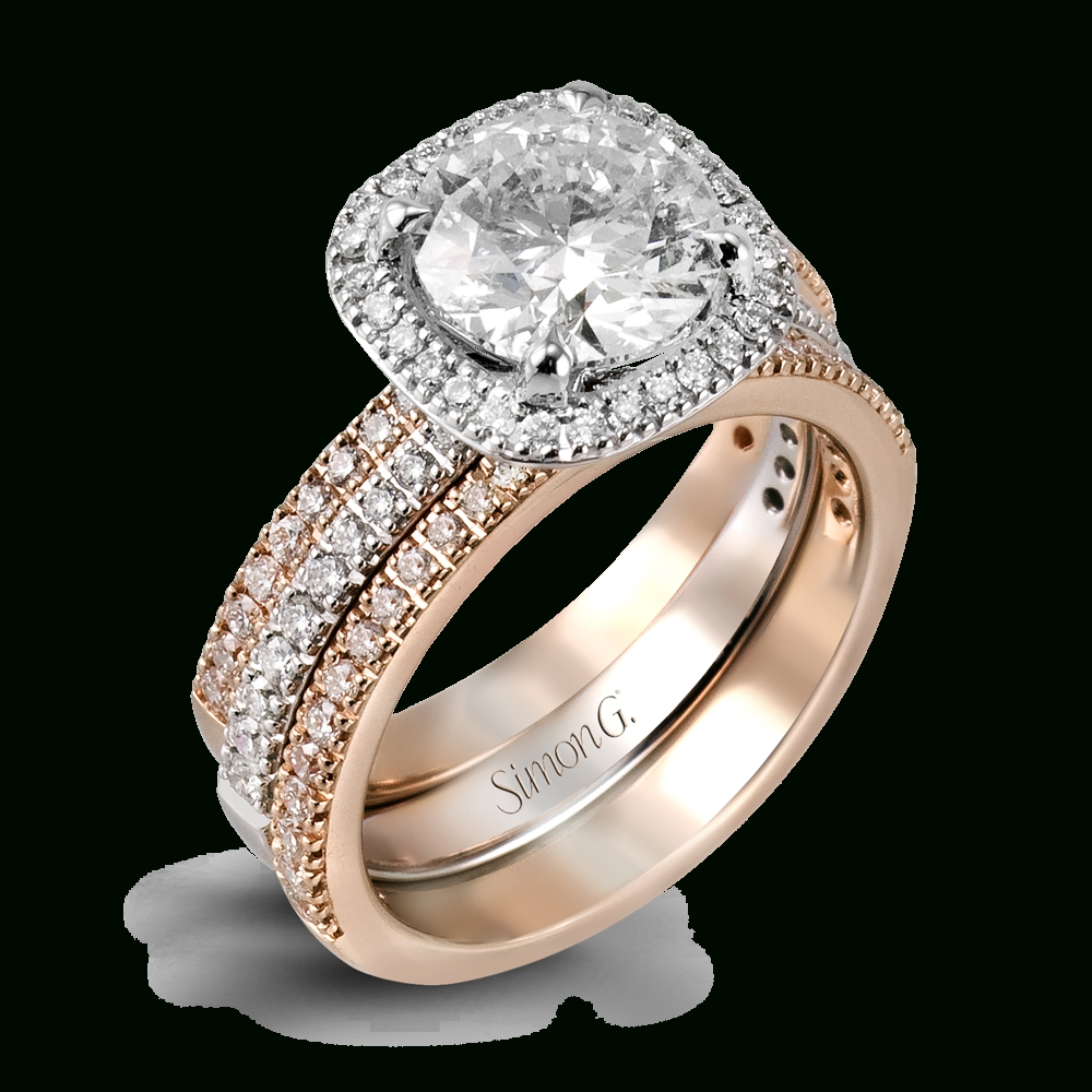 18k White Gold Vintage Halo Engagement Ring Set – Passion Collection Pertaining To Dallas Custom Engagement Rings (View 2 of 15)