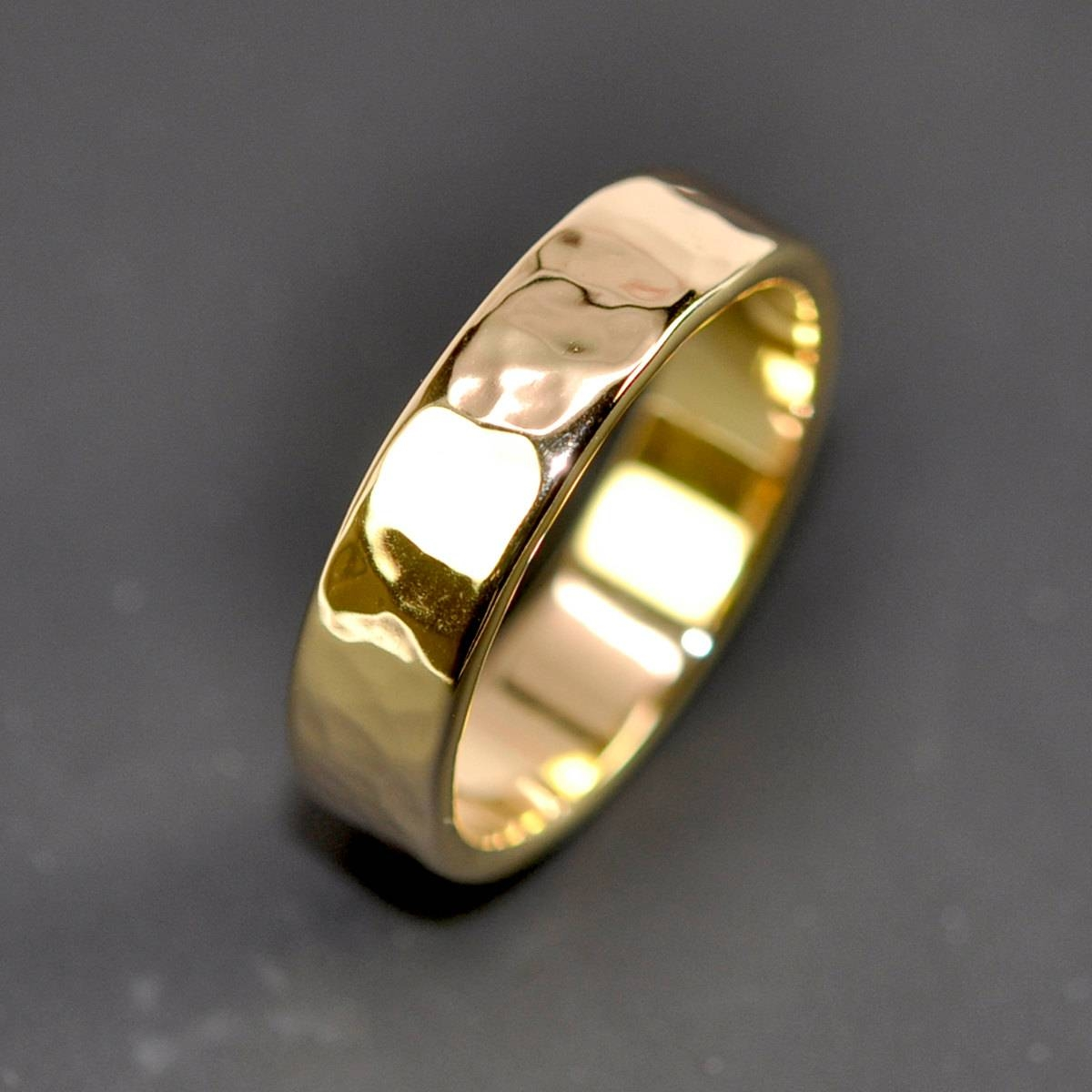 18K Yellow Gold Men's Wedding Band Hammered 5Mm Ring Sea With Regard To Hammered Wedding Bands For Men (View 1 of 15)