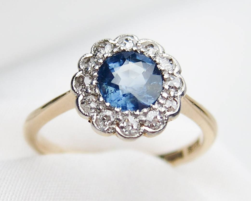 1910 Sapphire & Diamond Halo Ring | Edwardian Sapphire Halo Ring Intended For Nontraditional Engagement Rings (Gallery 10 of 15)